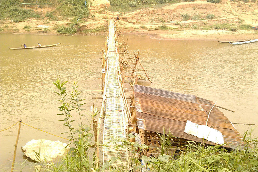 Bamboo Bridge in Luang Prabang - Happymind Travels