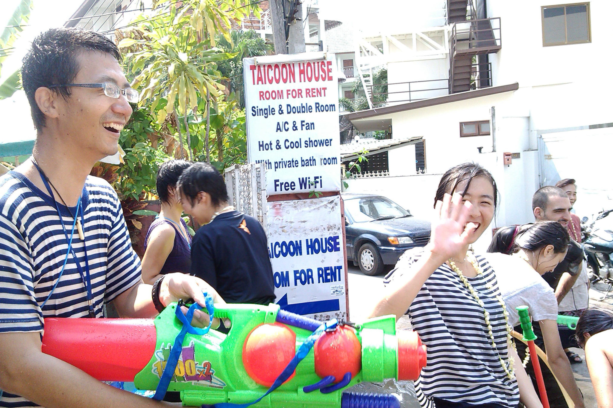 Songkran in Chiang Mai, Outside Taicoon House - Happymind Travels