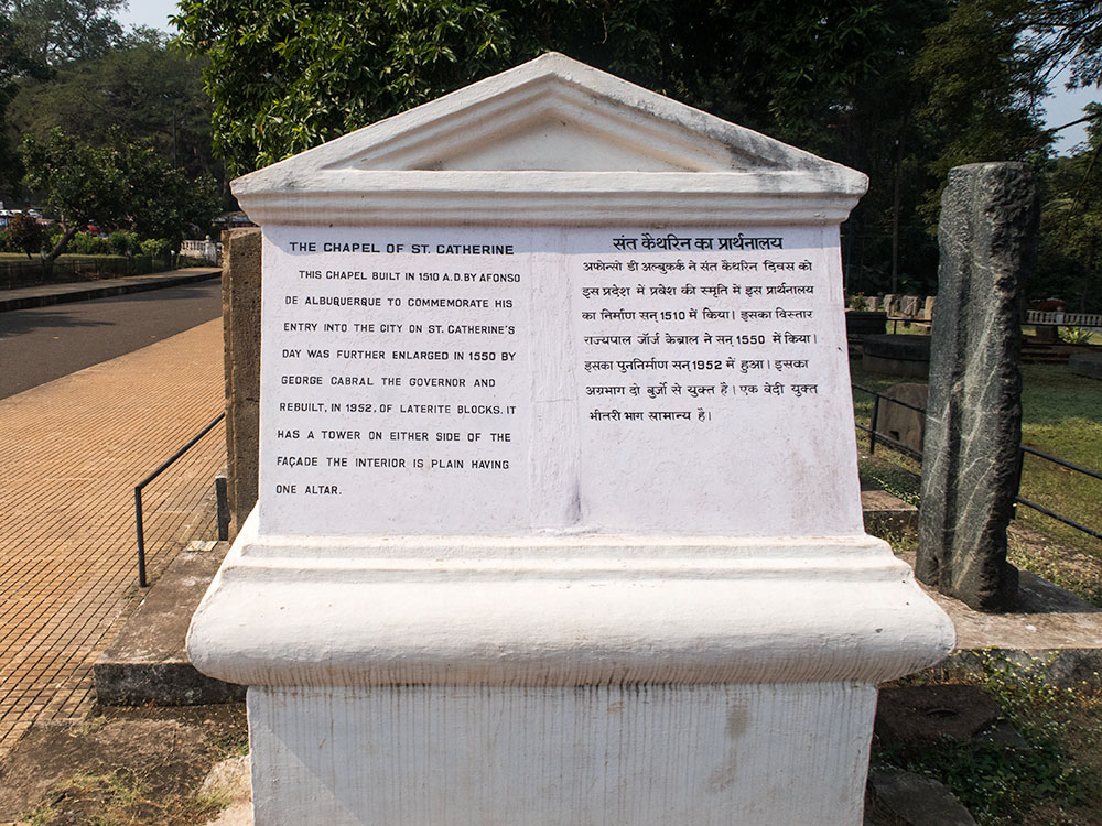 Chapel St. Catherine Sign in Old Goa | Happymind Travels