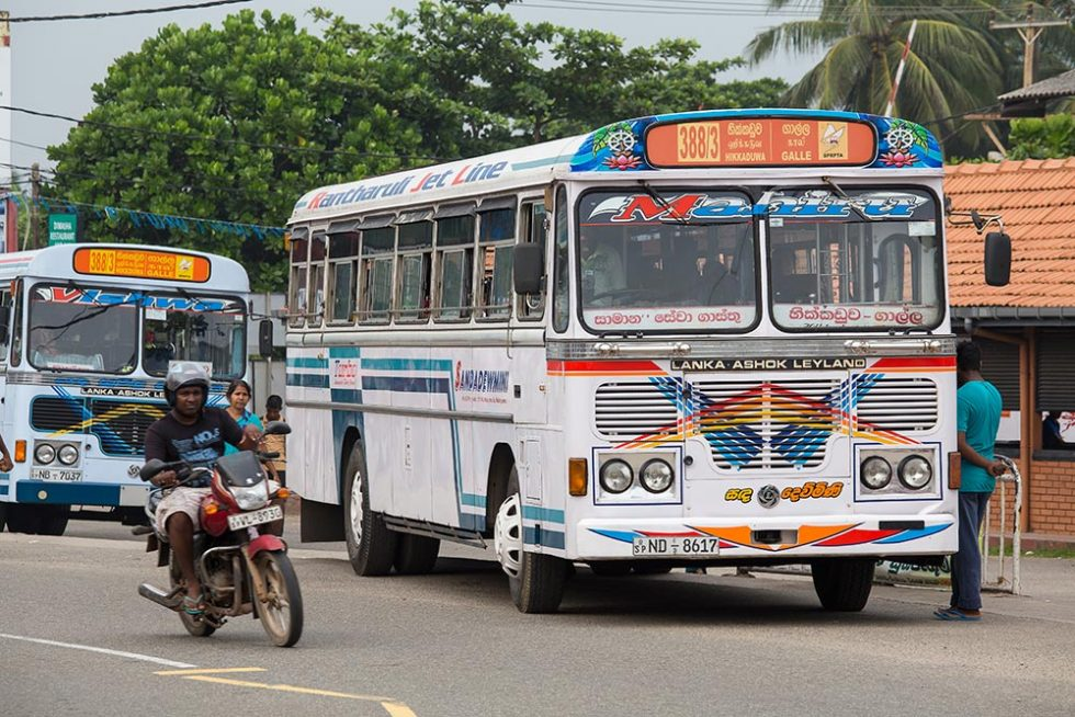 Transport in Sri Lanka - Bus on the streets of Galle | Happymind Travels