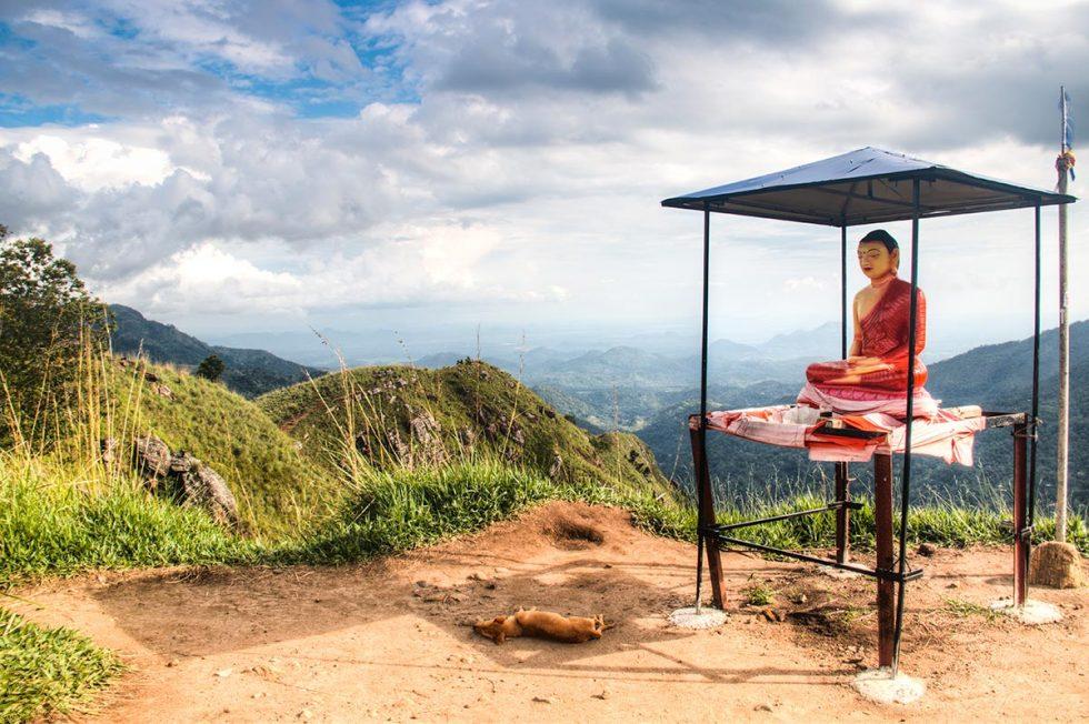 Buddha Statue on top of Little Adams Peak in Ella | Happymind Travels