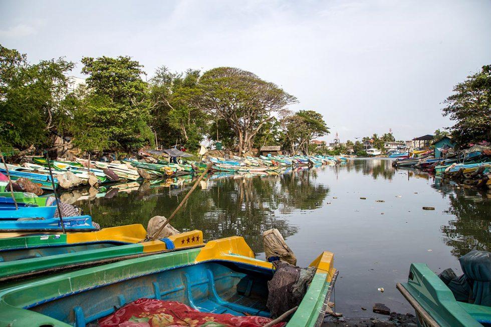 Standing boats on Negombo Lagoon, Sri Lanka   Happymind Travels