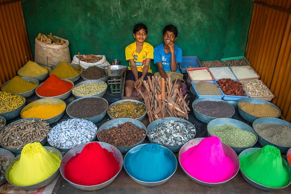 Kids selling color powder for the Holi Festival | Happymind Travels