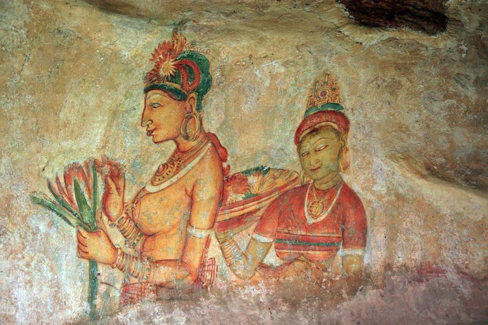 Frescos na subida ao Palácio de Sigiriya, Sri Lanka | Happymind Travels